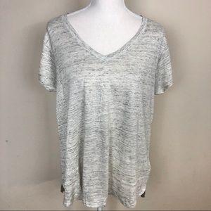 Tahari 100% Linen V-Neck T-shirt.